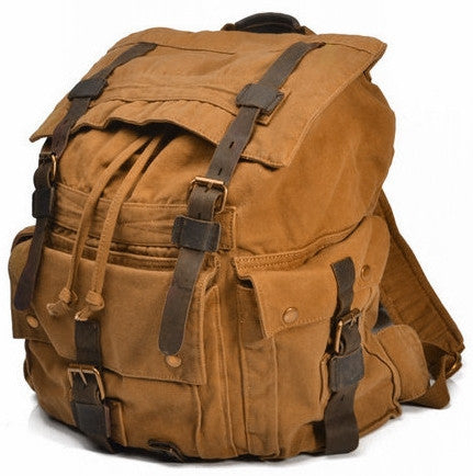 Large Canvas Leather Hiking Outdoor Travel Backpack, Serbags