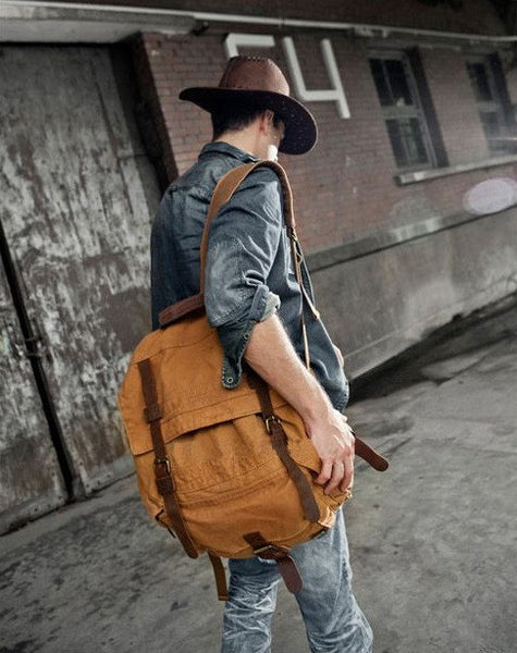 Fashionable guy sporting the brown Serbags canvas travel backpack
