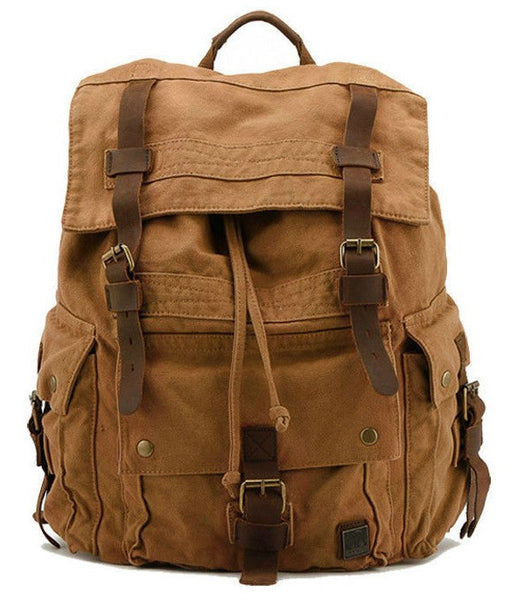 Front view of the Large Canvas Leather Hiking Outdoor Travel Backpack