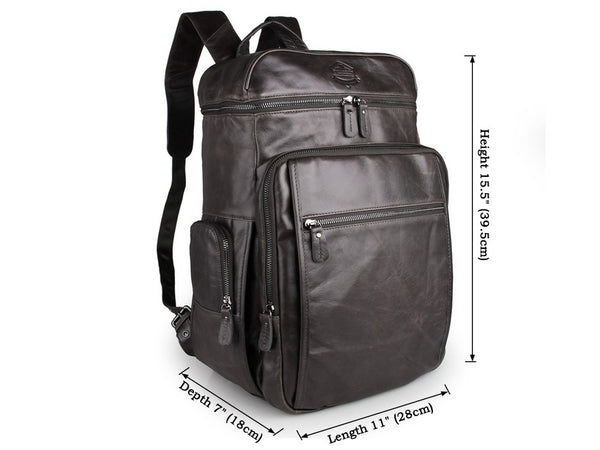 Gray Leather Backpack - Laptop Compartment