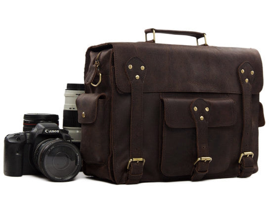 Business & Travel Large Solid Dark Brown Full Grain Leather Messenger Bag in Brass & Iron Details perspective