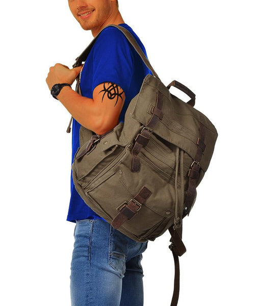 man wearing outdoor hiking canvas backpack by SerBags