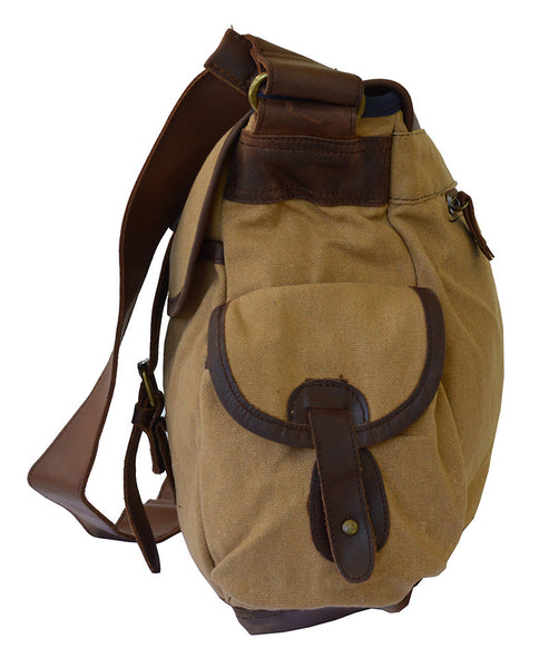 Large Waxed Travel Canvas & Leather Messenger Bag - 17