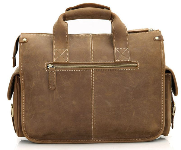 Selvaggio Dark Brown Genuine Leather Satchel Bag with Multiple Pockets & Laptop Compartment (Heavy Load)