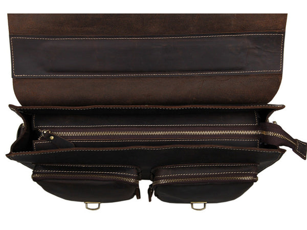 Leather Briefcase Laptop Men's Organizer Bag - Serbags  - 11