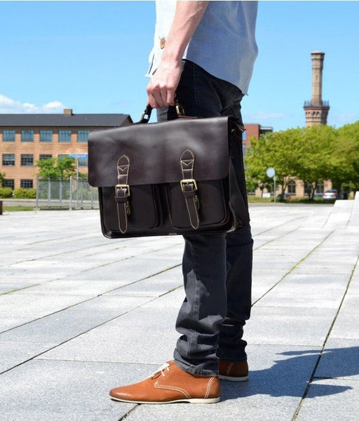 Urban Dark Brown Convertible Organizer Leather Laptop Briefcase for Men with Adjustable Strap