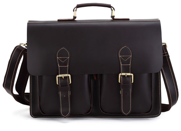 Sleek Urban Organizer Leather Laptop Briefcase For Men