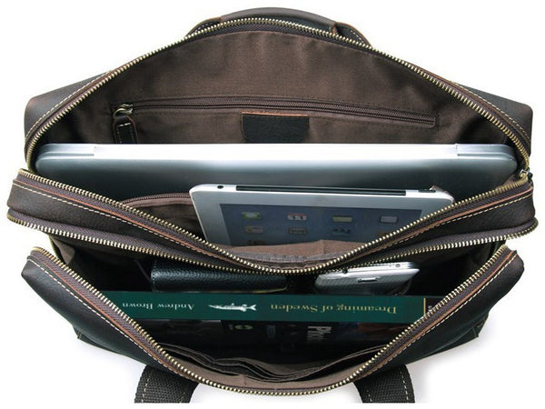 Leather Business Briefcase Bag - Separate Zippered Compartments