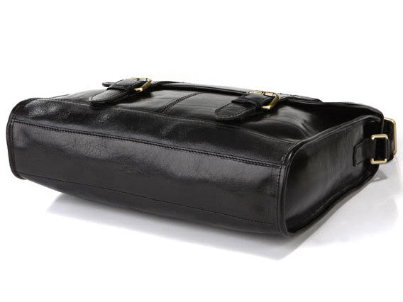 Genuine Leather Flapover Briefcase for Commuting, Traveling and Business