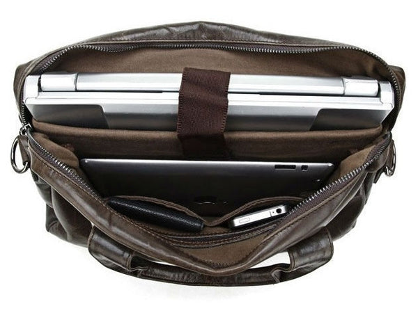 Leather Satchel Handbag Laptop with Multi-Compartments - Serbags  - 8