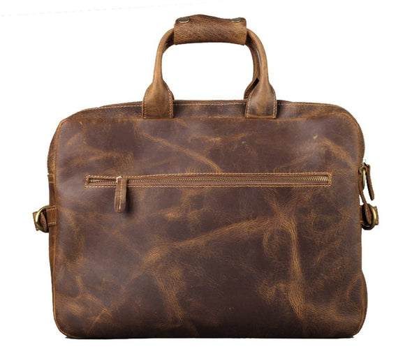 Men's Leather Messenger Briefcase Crazy Horse Leather - 16