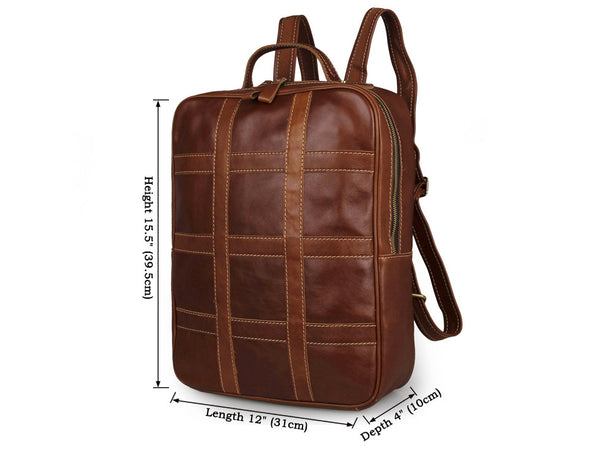 Men's Leather Convenient Travel Overnight Backpack Bag