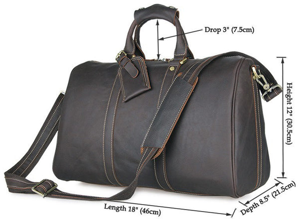 Men's Leather Holdall Weekender Travel Duffel Bag