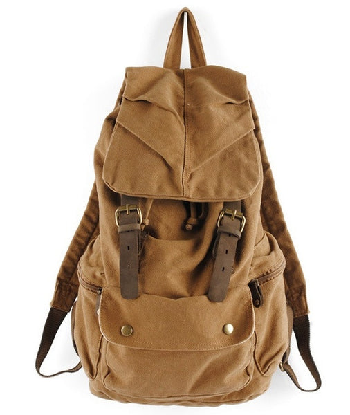 Heavy Duty Genuine Leather & Canvas Military Rucksack | Serbags