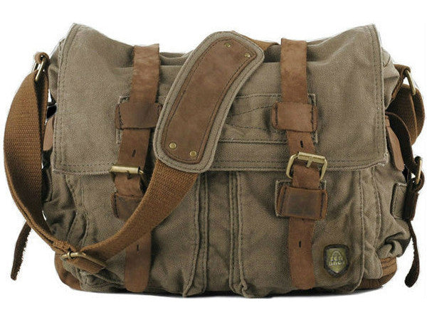 6bede1b5d37 swiss military messenger bag. Quick shop · Green Canvas Military Messenger  Bag with Adjustable Leather ...