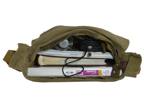 military style canvas messenger bag  bookbag