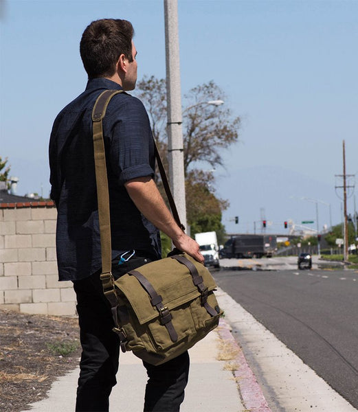 Green Canvas Military Messenger Bag with Adjustable Leather Straps