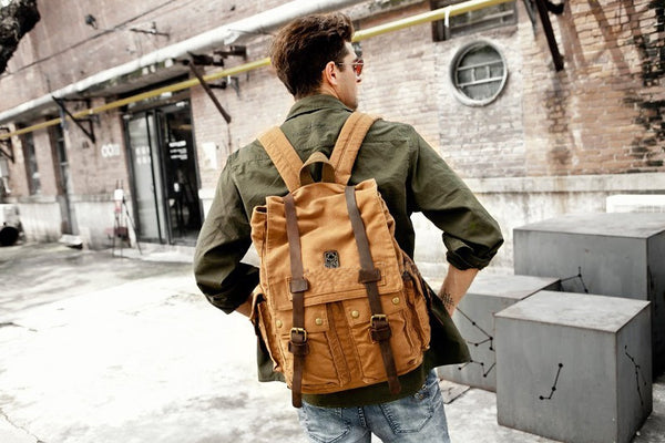 Heavy Duty Multi-Pocket Canvas & Leather Durable School Backpack - 14