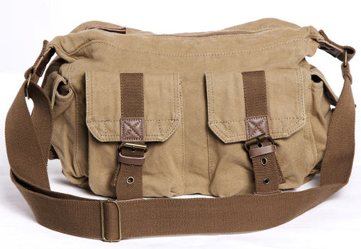 Multi Pocket Casual Washed Canvas Messenger Bag