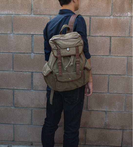 Stylish mean sporting the Serbags fashion canvas backpack