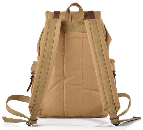 back view of the  light brown canvas school backpack by Serbags