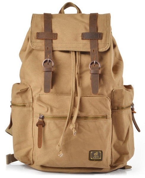 Youthful Canvas School Backpack with Leather Accents & Adjustable Shoulder Straps