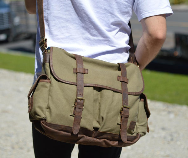 Premium Quality Canvas & Leather Messenger Bag with Thick Leather Handle