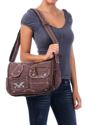 Brown Laptop Cross Body Canvas Messenger Bag - Serbags  - 6