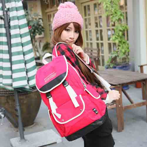 Cute Canvas Backpack for Girls - Red - Serbags  - 2