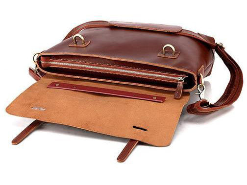 Selvaggio Reddish Brown Leather Messenger Bag 16