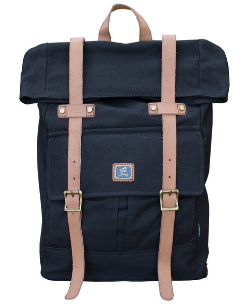 Roll top vintage rucksack backpack by Serbags - front view