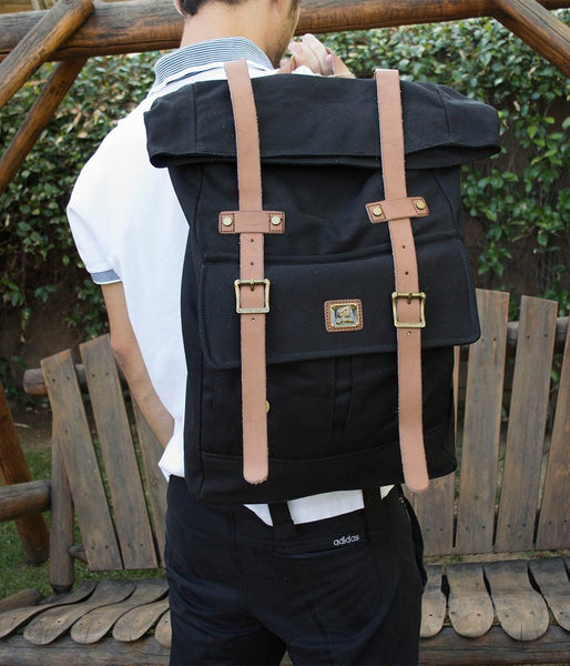 Roll top vintage rucksack backpack by Serbags