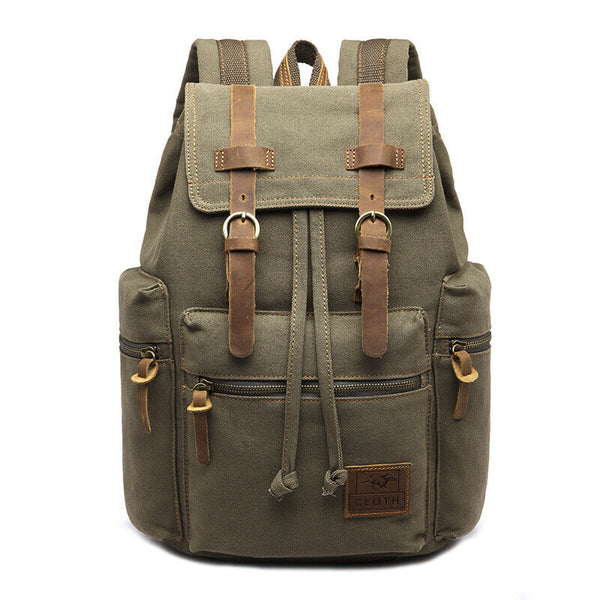 Vintage Army Canvas Backpack Rucksack School Satchel Travel Hiking Bag