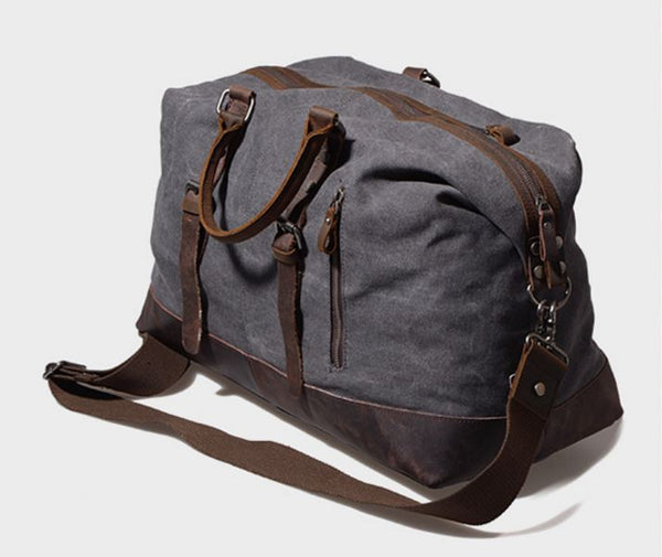 Vintage Travel Canvas Leather Luggage Duffel Men's Weekend Bag under $100