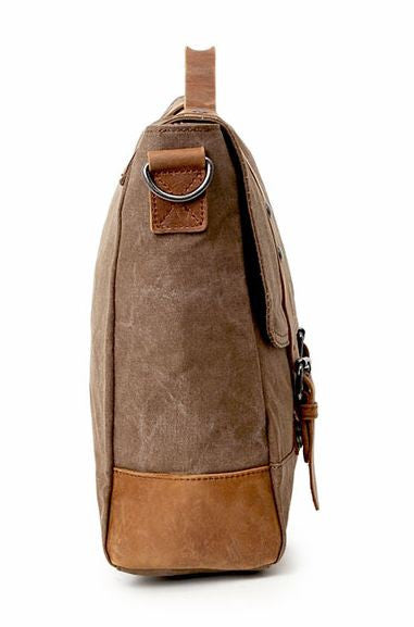 Double Shoulder Straps Durable Canvas and Leather Messenger Bag with Metal Finish