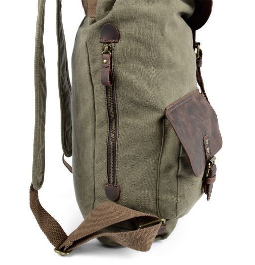 Army Green Washed Canvas Rucksack