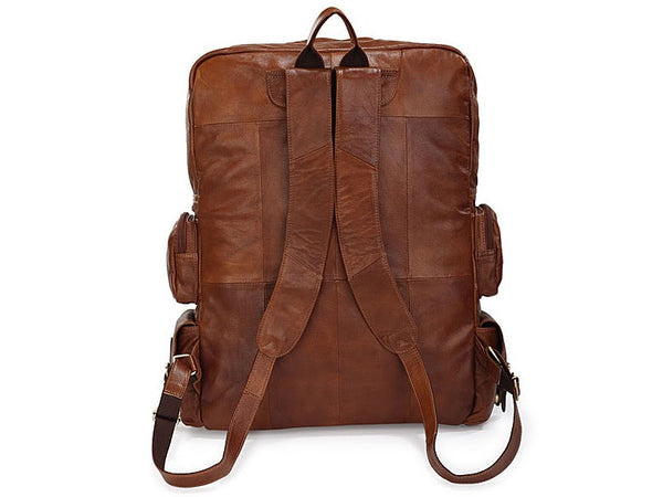 Soft Leather Multipocket Travel Back Pack - Large Front Pocket