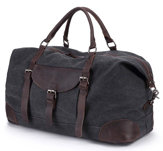 Travel Canvas Leather Duffle with Thick Leather Handles