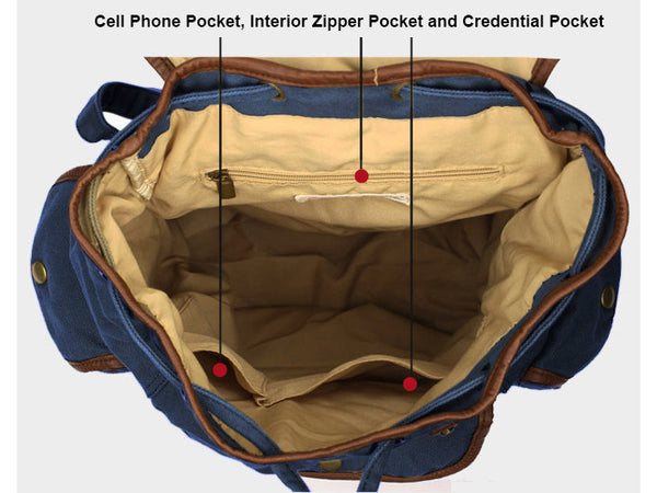 inner pockets details - elegant dark blue canvas daypack by serbags