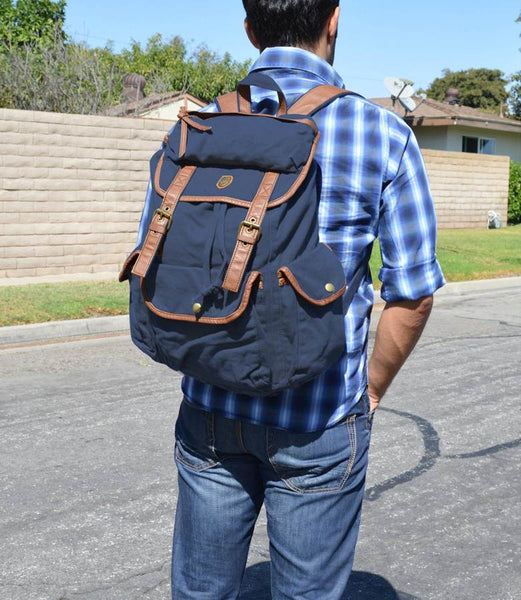 elegant dark blue canvas daypack by serbags