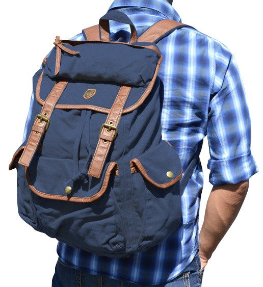 833fb95a70 Canvas Daypack Fashion School Backpack - Dark Blue - Serbags - 7  Unisex  Dark Blue Canvas Daypack for 17 ...