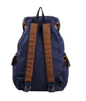 Unisex Dark Blue Canvas Daypack for 17