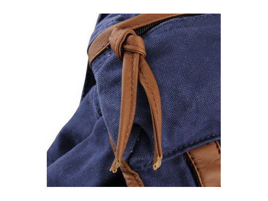elegant dark blue canvas daypack by serbags - strap detail