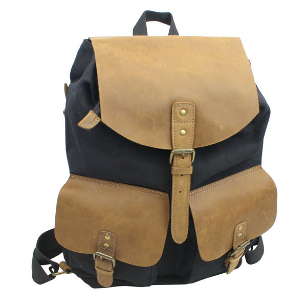 Old School Canvas & Leather Rucksack