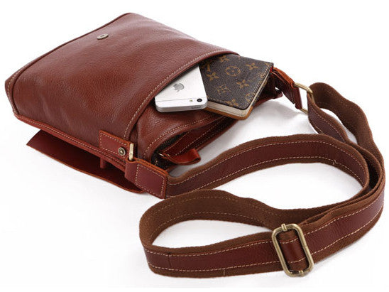 Unisex Genuine Shoulder & Crossbody Tablet Messenger Bag with Front Pocket and Adjustable Strap