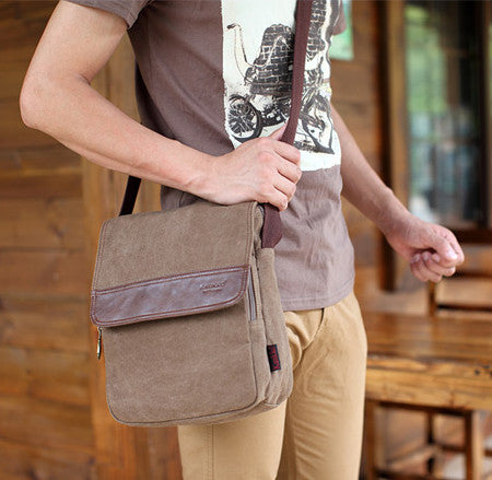 Vertical Canvas Shoulder Messenger Bag - Serbags  - 7