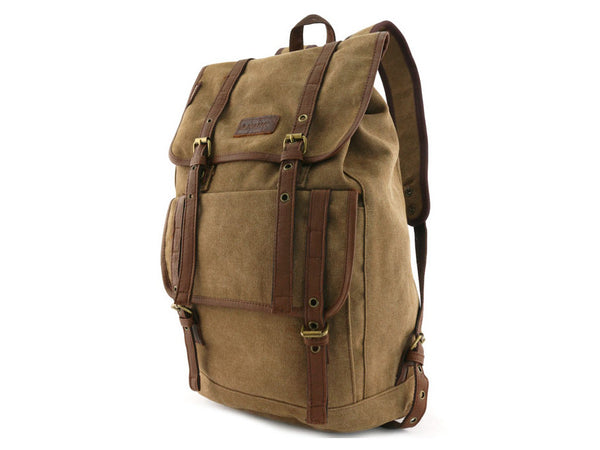 Vintage Canvas Backpack with Leather Accents - Serbags  - 5
