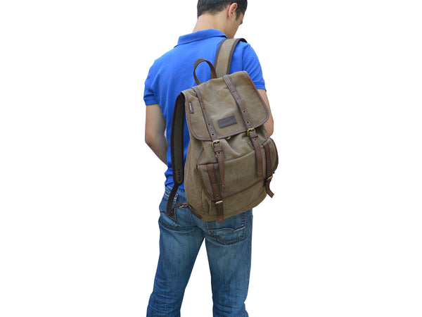 Vintage Canvas Backpack with Leather Accents - Serbags  - 7