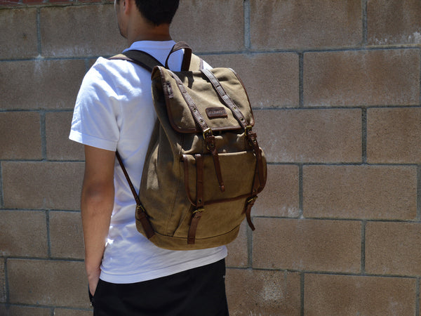 Vintage Canvas Backpack with Leather Accents - Serbags  - 8