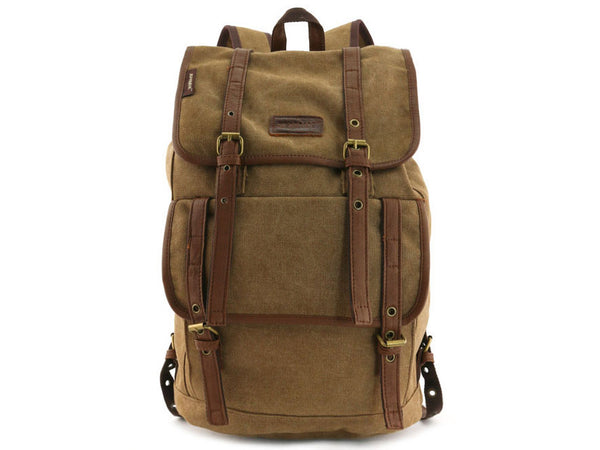 Vintage Canvas Backpack with Leather Accents - Serbags  - 2
